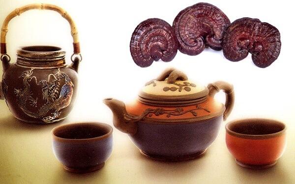 Dùng bột nấm linh chi để hãm trà