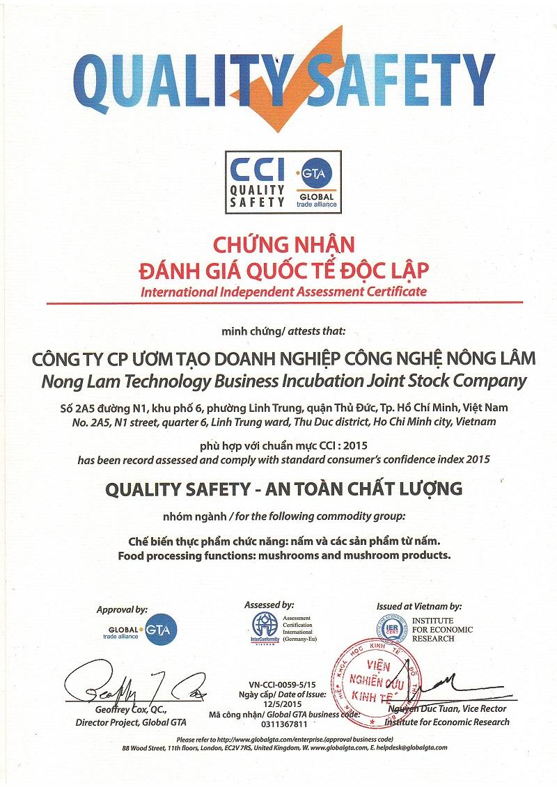 Chứng nhận Quốc Tế về an toàn chất lượng của Linh Chi Nông Lâm.