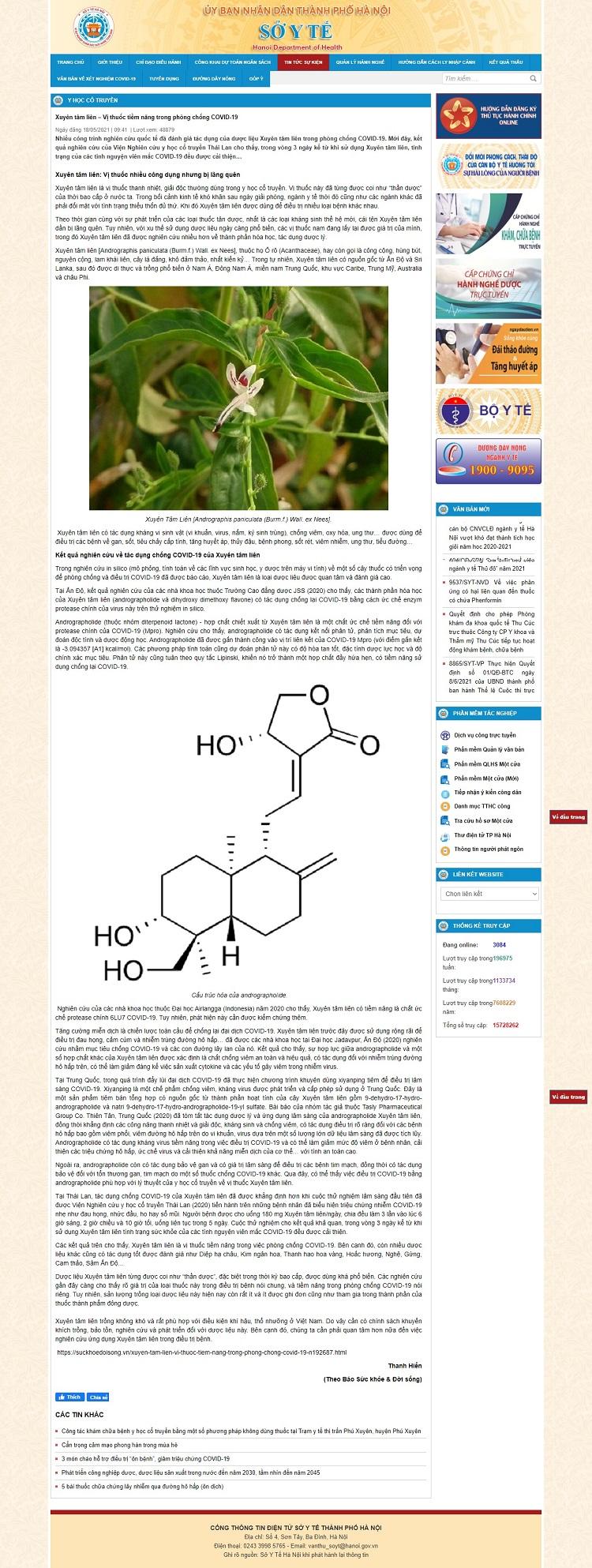 Xuyên tâm liên – Vị thuốc tiềm năng trong phòng chống COVID-19